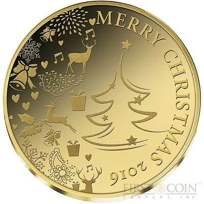 Congo MERRY CHRISTMAS 2016 Gold coin 100 Francs Proof 1/3 gram