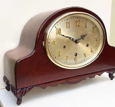 German Large Mahogany Westminster Chiming Mantle Clock