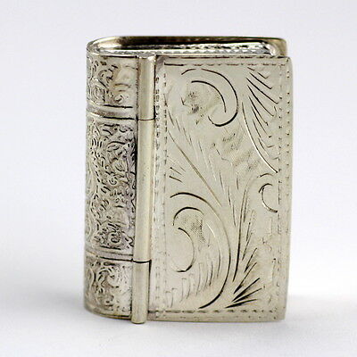 Collectable Art Nouveau Style Book Design Snuff Pill Box 925 Sterling Silver