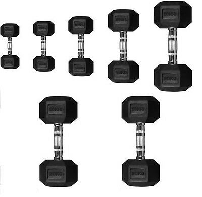 Maxx Hex Dumbbells Hexagonal Rubber Encased Ergo Weights Sets  Gym 5kg -20kg
