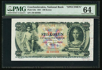 "100 Korun 1931 Czechoslovakia National Bank ""SPECIMEN"" PMG 64 Choice Uncirculate"