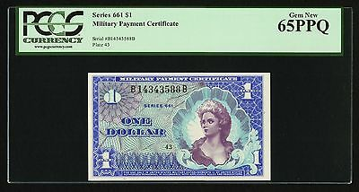 Series 661 $1 Military Payment Certificate PCGS Gem New 65 PPQ Uncirculated