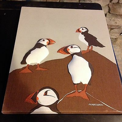 VTG Marushka Puffins Screen Print Fabric Art raised 3D 16x20 mid century retro