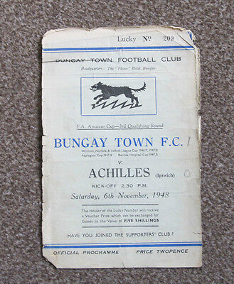 1948/49 Bungay Town FC v Achilles (Ipswich). FA Amateur Cup 3rd Qualifying.