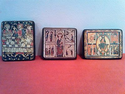 Three Vintage wooden Russian Icons