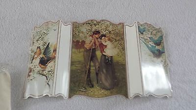 Antique Reproduction Paper Tri-fold Card, Family Garden Scene, Winslow Papers