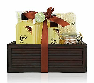 Valentines Spa Bath Gift Set, Green Tea, Argan Oil, Bamboo Spa Basket
