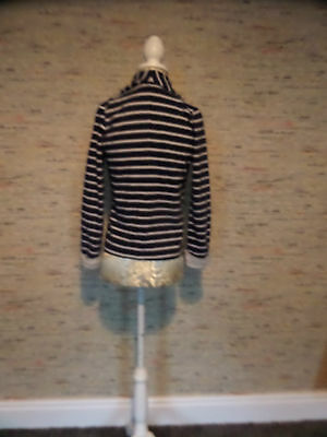 Gorgeous Bow Corsage Navy Grey Jersey Blazer Jacket 10-11 Very Good Condition