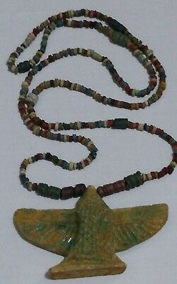 "Egyptian Antique, wonderful Pharaoh's Necklace Mummy Beads 28"" & Isis Amulet"