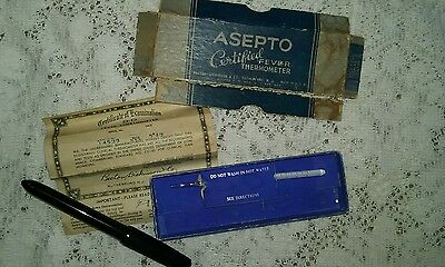 vintage 1950 asepto certified fever thermometer in box complete