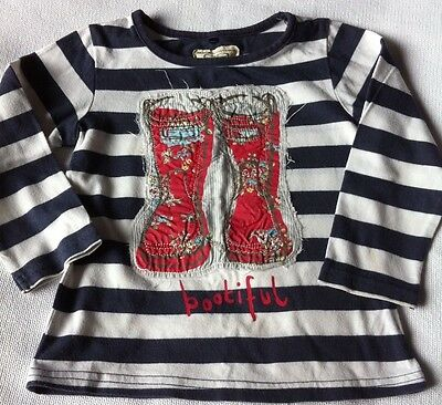Girls Next long sleeved navy & white stripey top with welly boot appliqué 9-12 m