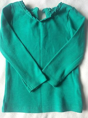 Baby girls Next long-sleeved green top with ruffle effect around neckline, 6-9 m