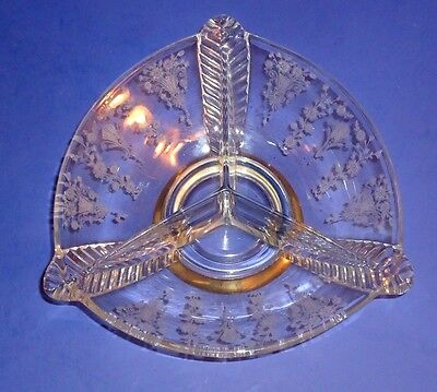 Elegant Glass Three Part Etched Dish With Sterling Footed Base