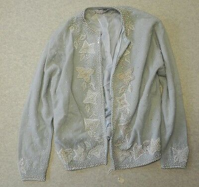 VINTAGE SWEATER ~ CYN LES ~ HAND BEADED W/FAUX PEARLS 1950/60's LINED CARDIGAN