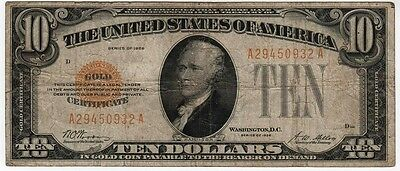 Fr.2400 1928 $10.00 GOLD CERTIFICATE -  FINE EXAMPLE