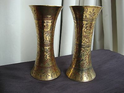 Eastern / Islamic pair hand decorated brass vases