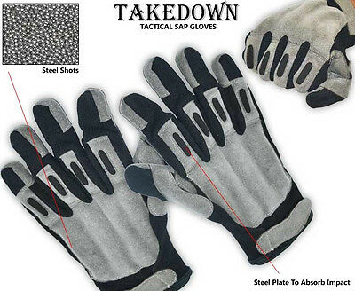 Self Defense TakeDown Police Security Gry Blk Steel Shot Large SAP Leather Glove