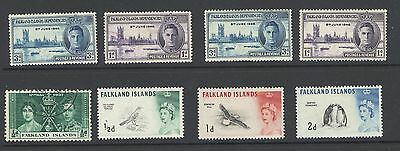 Falkland Islands - KGVI - QE2  - Mint and Used - 8  Stamps