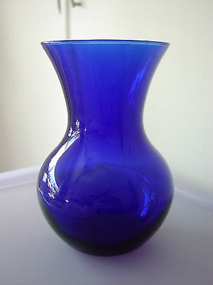 Cobalt Blue Art Glass Baluster Vase By Libbey USA