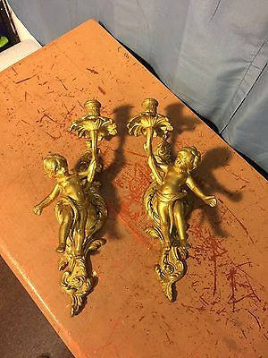 2 Vintage Brass Italy Torch Cherub Wall Sconces Single Candle BEAUTIFUL and Rare