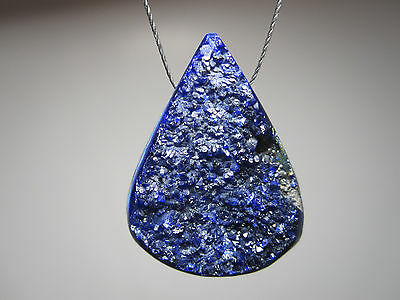 Azurite Blue Drusy Gemstone Focal Bead Pendant Natural Stone Jewelry Design