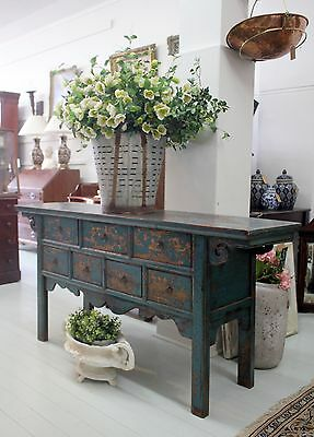 Antique Chinese Console Table Cabinet Drawers Distressed Finish