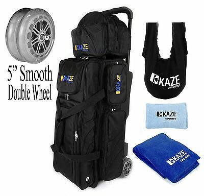 KAZE 3 Ball Bowling Roller Tote Bag Double Smooth PU Wheels ADD-ON Spare SeeSaw