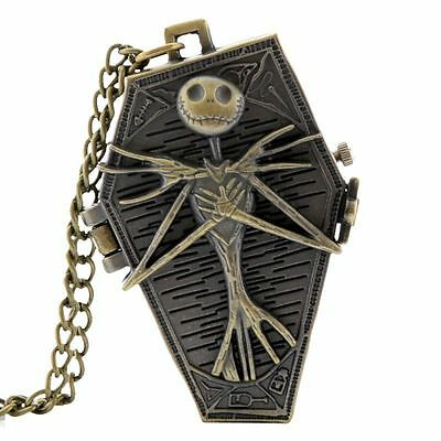 Skeleton Coffin Shape Nightmare Before Christmas Bronze Necklace Watch Goth Gift