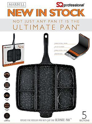 "Non-Stick 5 In 1 Divided Grill Fry Pan Fryer Oven Meal Skillet 15"" Inch Black"