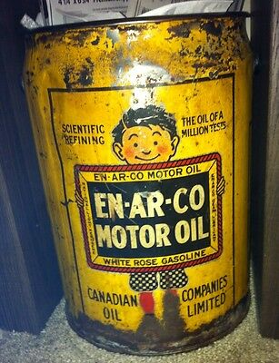 5 Gallon Enarco Motor Oil Can Wood Handle Rare White Rose