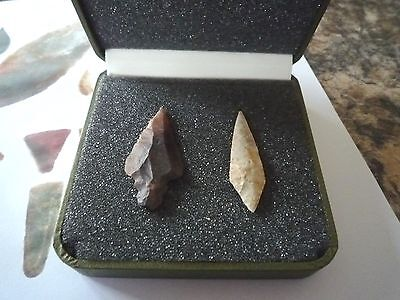 2 x Quality Neolithic Arrowheads in Display Case - 4000BC (X012)