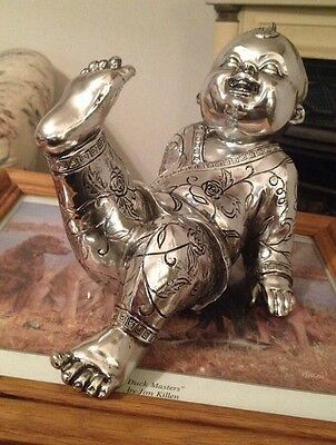 """Chinese Japanese 11"""" Silver Asian Feng Shui  Baby Boy Lad Cerimonial Statue Nice"""