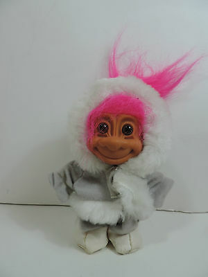 Adorable Vintage Russ Eskimo Troll Doll Pink Hair White Jacket Hood Cute