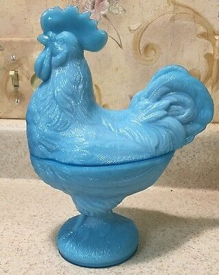 Rare Portieux Vallerysthal Pv France Blue Opaline Covered Rooster Dish W Label