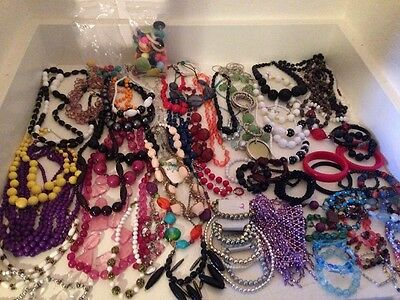 100's Pcs Vintage New Used Plastic Lucite Jewelry Necklaces Bracelets & Earrings
