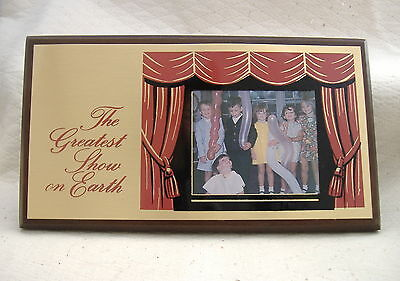 Picture frame The Greatest Show on Earth wood plaque metal plate child photo