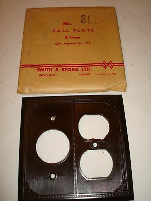 Vintage Smith & Stone Bakelite 2 Gang Brown Ribbed Combination Wall Plate Nos
