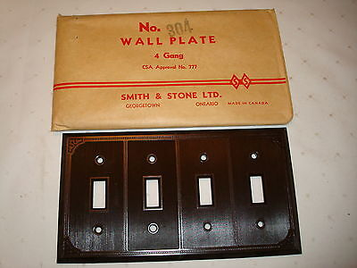 Vintage Smith & Stone Bakelite 4 Gang Brown Ribbed Toggle Wall Plate Nos 304