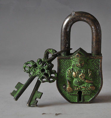 Old Chinese Tibet Buddhism bronze sculpture white tara big door lock the key