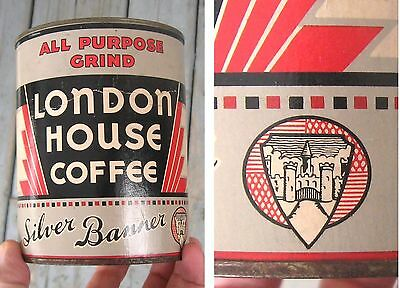 1941's VINTAGE TIN COFFEE LONDON HOUSE WARTIME CARDBOARD SILVER BANNER WWII
