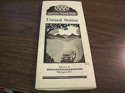 Vintage - Official Road Map - United States - A.a.a. - 1933 - Excellent