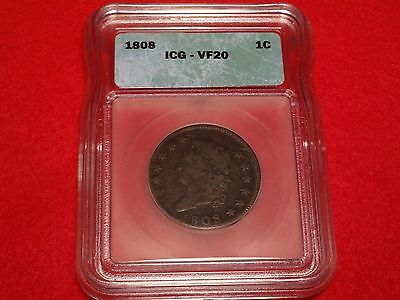 ICG VF20 1808 Classic Head Large Cent S-277 1c Variety ~ First Year Issued