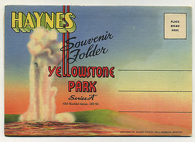 Vintage 1929 Fold-Out Postcard Book YELLOWSTONE NATIONAL PARK 'A' - Teich D-501