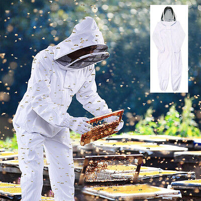 New Professional Cotton Full Body Beekeeping Bee Keeping Suit w/ Veil Hood XXL