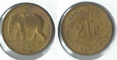 1947 Belgian Congo 2 francs coin with elephant