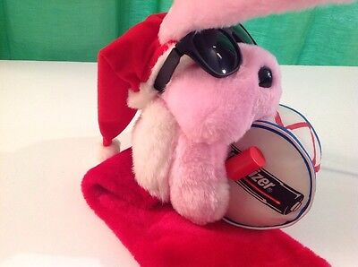 """1993 Energizer Batteries Bunny With Drum Christmas Stocking, Plush, 30"""", NEW"""