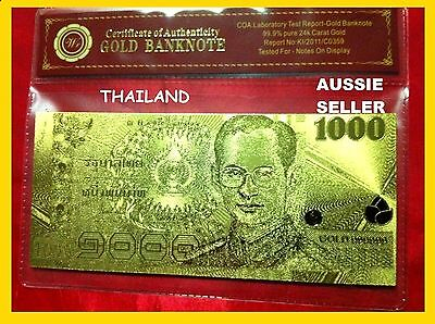 Thailand Banknote 24Kt Gold New 1000 Thai Baht King Rama Ix 3D Gold Bank Note