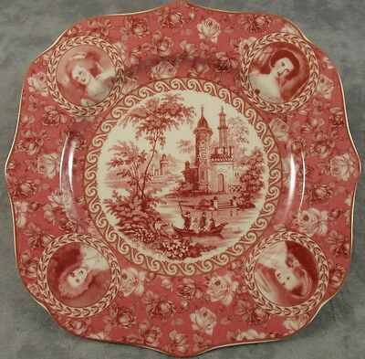 Set/2 RED & CREAM TRANSFERWARE COUNTRY TOILE PLATES, Portrait & Rose Border