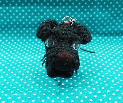 Schnauzer Crochet Dog Amigurumi Dog Doll Stuffed Handmade Cell Phone Strap