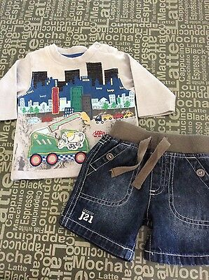 Baby boys size 0-3 m pumpkin patch top, and target shorts. Euc